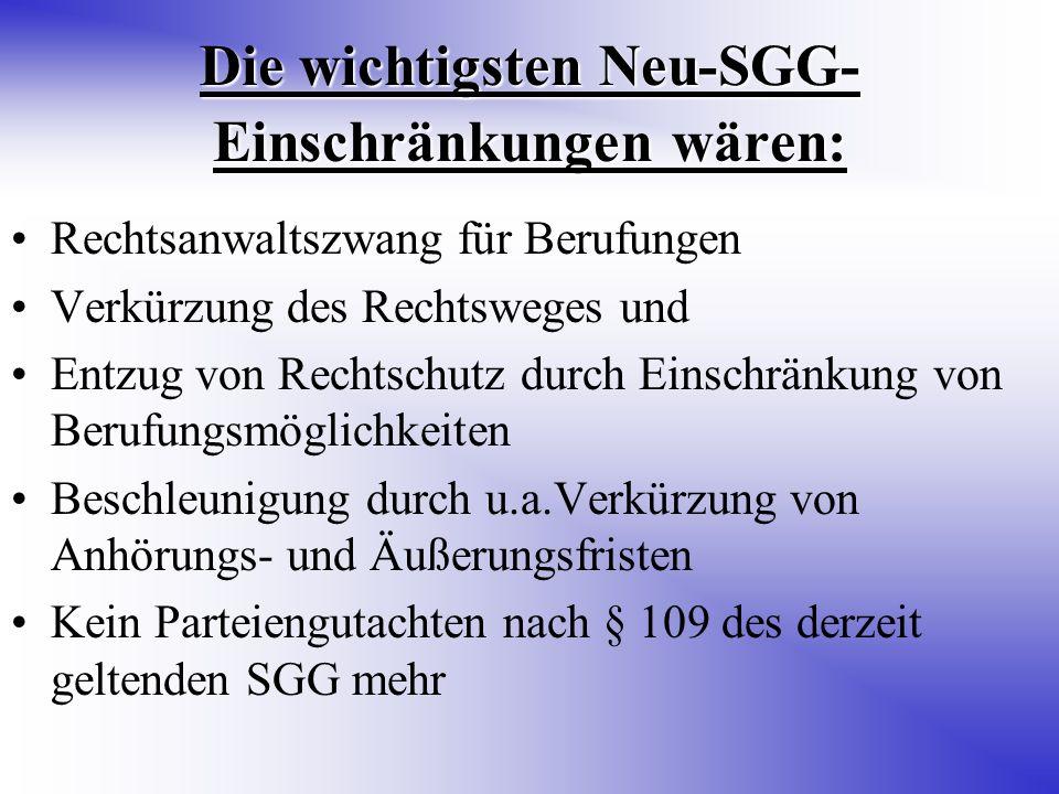 Die wichtigsten Neu-SGG- Einschränkungen wären: Rechtsanwaltszwang für Berufungen Verkürzung des Rechtsweges und Entzug von Rechtschutz durch Einschränkung von Berufungsmöglichkeiten Beschleunigung durch u.a.Verkürzung von Anhörungs- und Äußerungsfristen Kein Parteiengutachten nach § 109 des derzeit geltenden SGG mehr