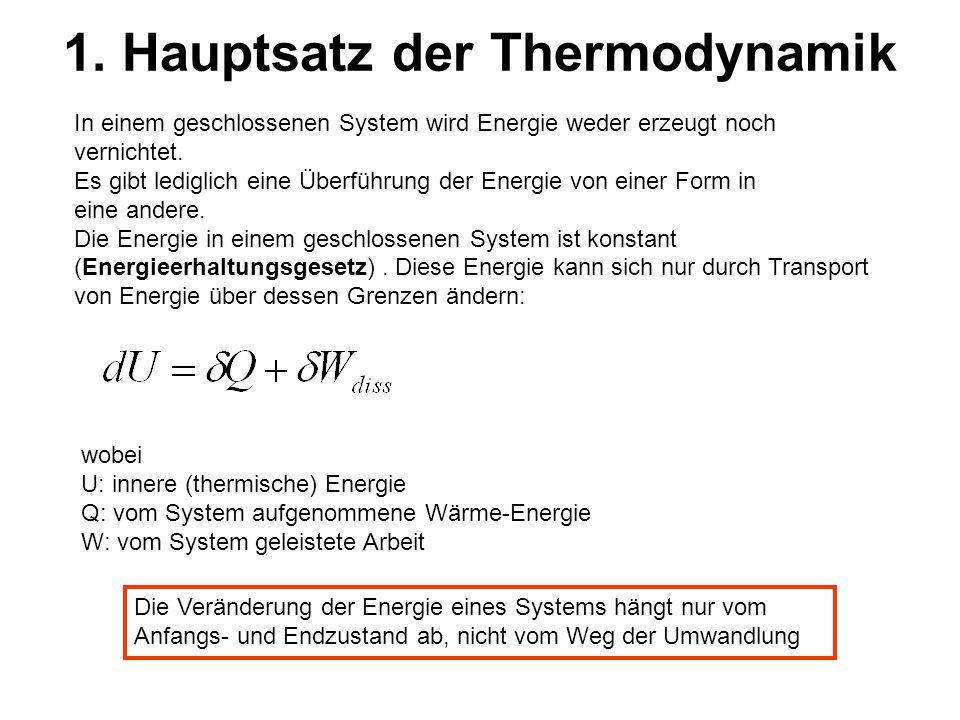 1. Hauptsatz der Thermodynamik In einem geschlossenen System wird Energie weder erzeugt noch vernichtet. Es gibt lediglich eine Überführung der Energi
