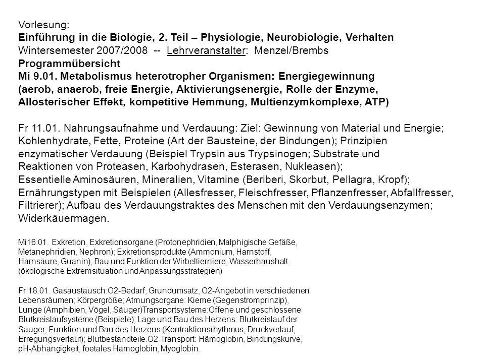 Vorlesung: Einführung in die Biologie, 2. Teil – Physiologie, Neurobiologie, Verhalten Wintersemester 2007/2008 -- Lehrveranstalter: Menzel/Brembs Pro