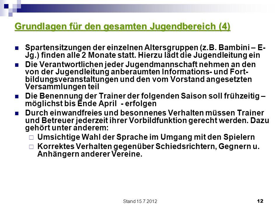 Stand 15.7.2012 12 Grundlagen für den gesamten Jugendbereich (4) Spartensitzungen der einzelnen Altersgruppen (z.B. Bambini – E- Jg.) finden alle 2 Mo
