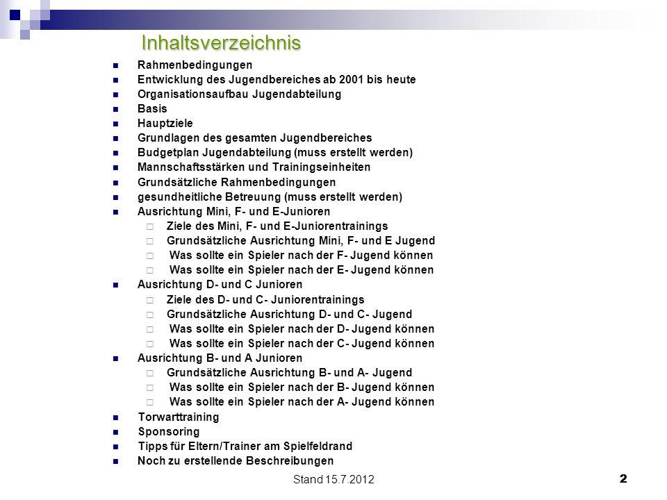 Stand 15.7.2012 22 Inhaltsverzeichnis Inhaltsverzeichnis Rahmenbedingungen Entwicklung des Jugendbereiches ab 2001 bis heute Organisationsaufbau Jugen