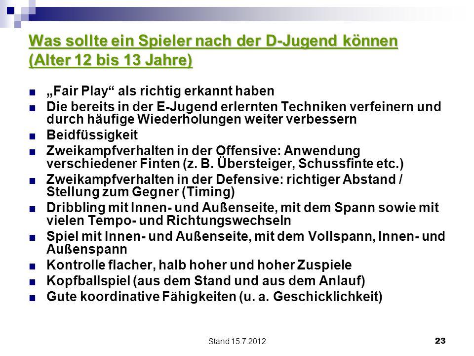 Stand 15.7.2012 23 Was sollte ein Spieler nach der D-Jugend können (Alter 12 bis 13 Jahre) Fair Play als richtig erkannt haben Die bereits in der E-Ju