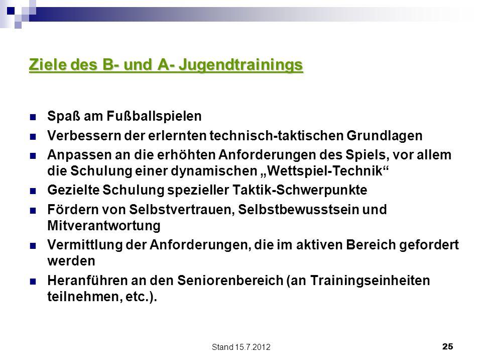 Stand 15.7.2012 25 Ziele des B- und A- Jugendtrainings Spaß am Fußballspielen Verbessern der erlernten technisch-taktischen Grundlagen Anpassen an die