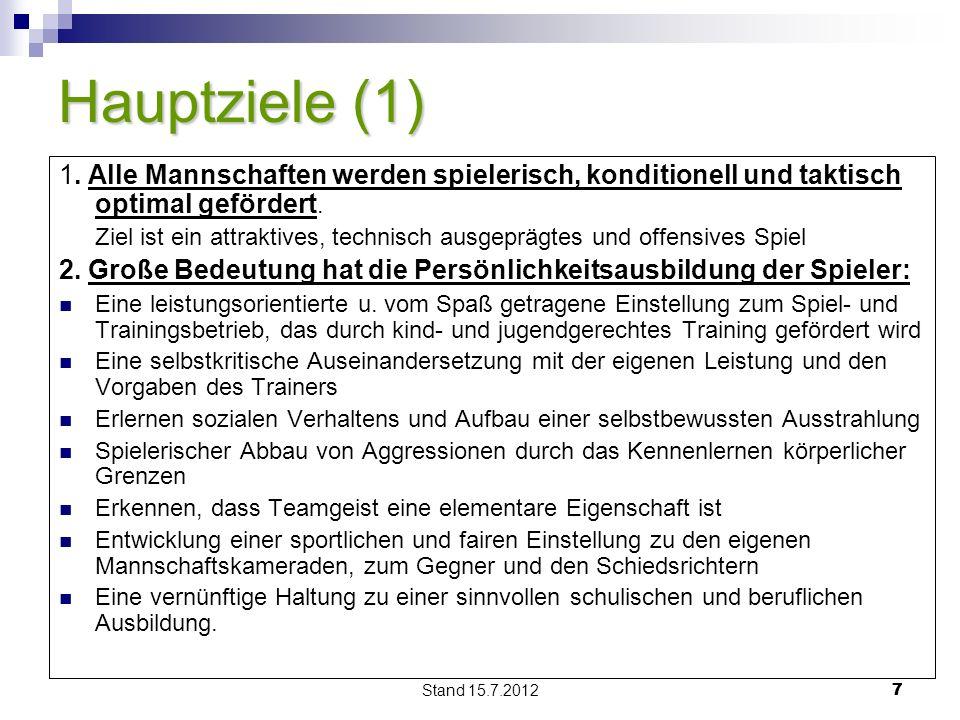 Stand 15.7.2012 77 Hauptziele (1) 1.
