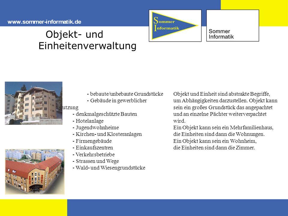 Objekt- und Einheitenverwaltung - - bebaute/unbebaute Grundstücke - - Gebäude in gewerblicher Nutzung - - denkmalgeschützte Bauten - Hotelanlage - Jug