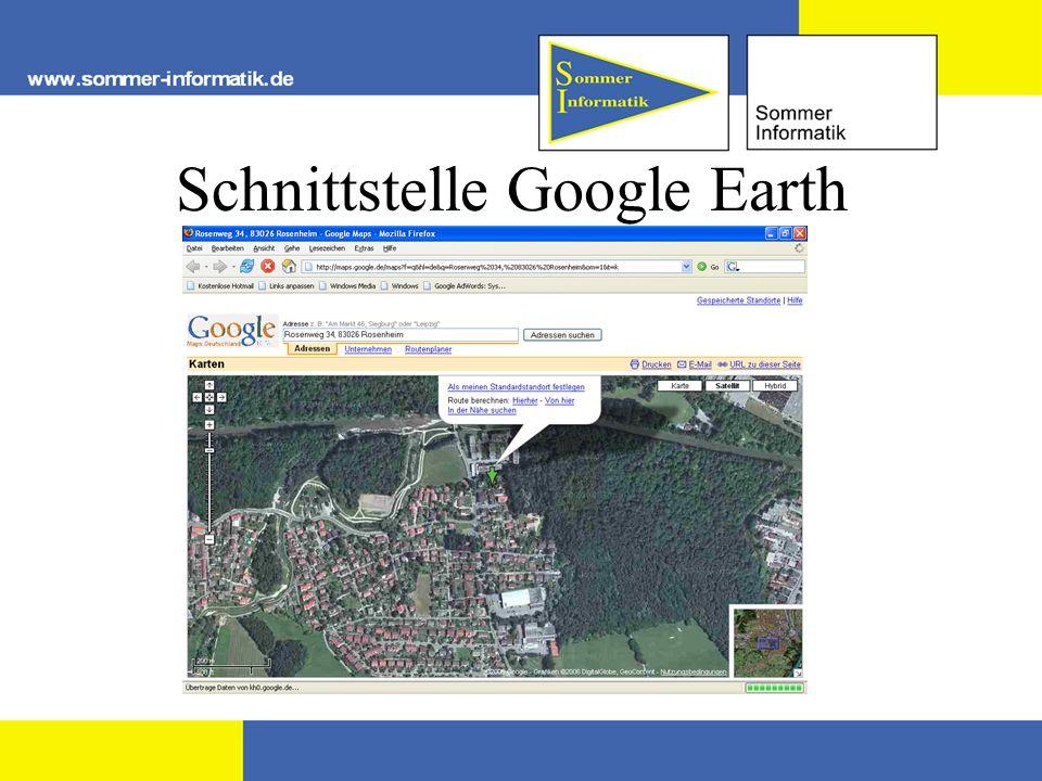 Schnittstelle Google Earth