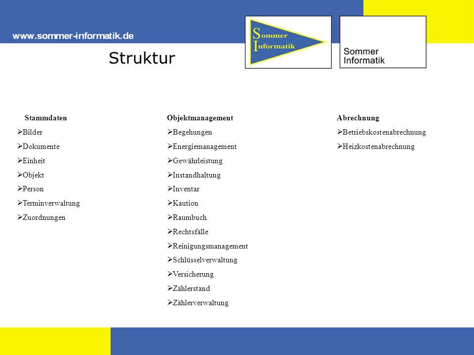 Struktur Stammdaten Bilder Dokumente Einheit Objekt Person Terminverwaltung Zuordnungen Objektmanagement Begehungen Energiemanagement Gewährleistung I