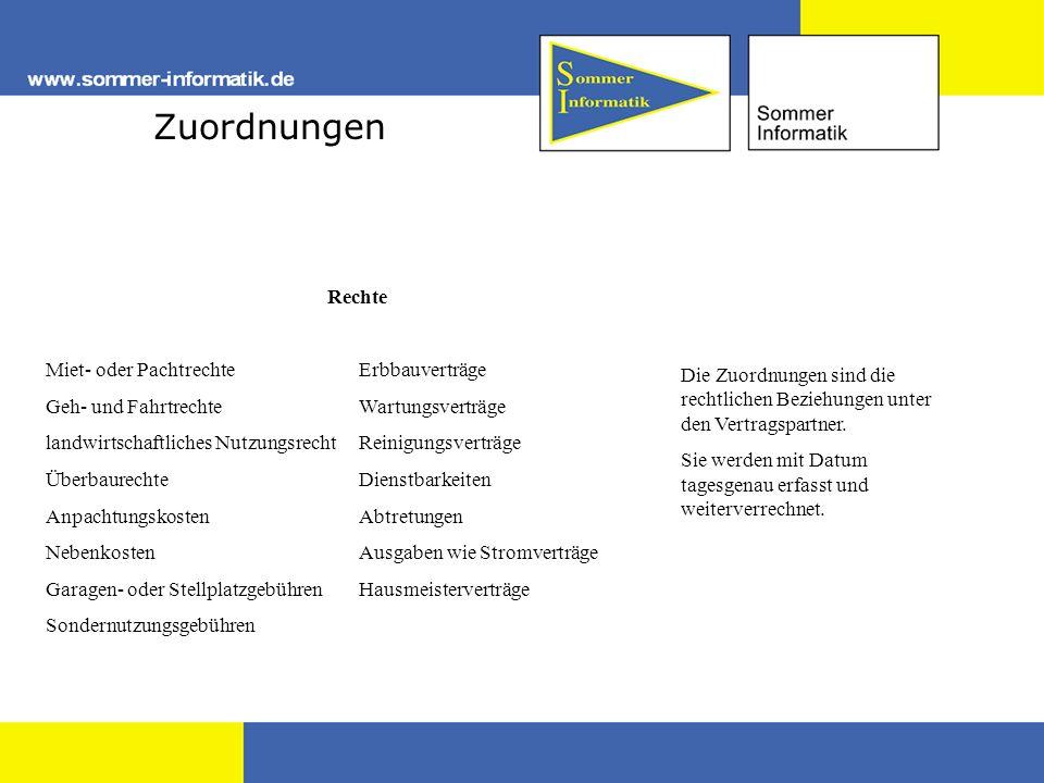 Zuordnungen Die Zuordnungen sind die rechtlichen Beziehungen unter den Vertragspartner.