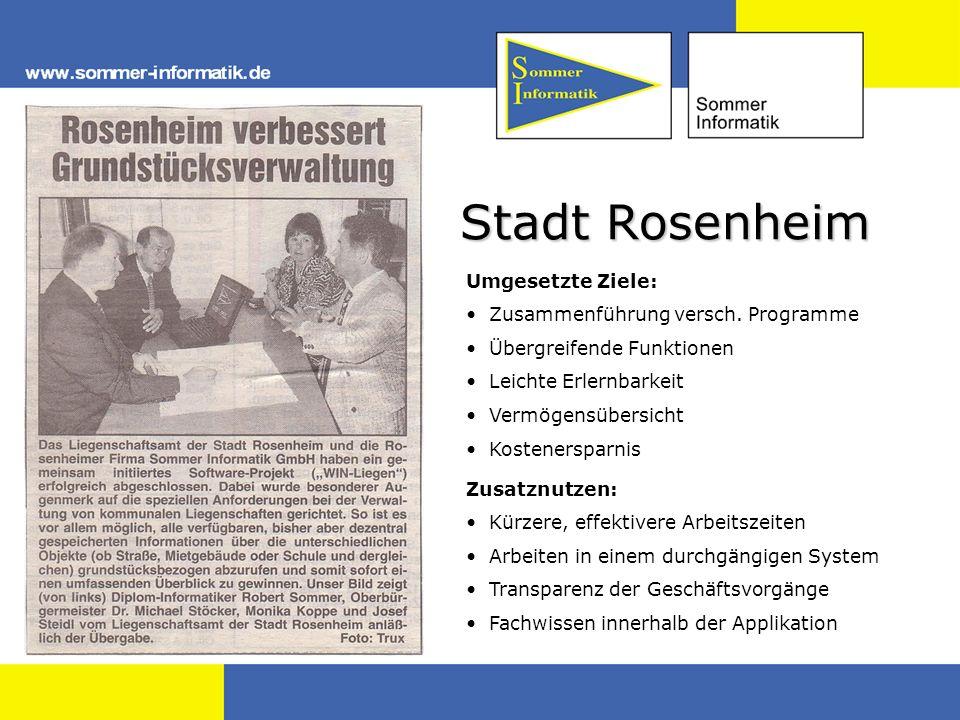 Stadt Rosenheim Umgesetzte Ziele: Zusammenführung versch. Programme Übergreifende Funktionen Leichte Erlernbarkeit Vermögensübersicht Kostenersparnis