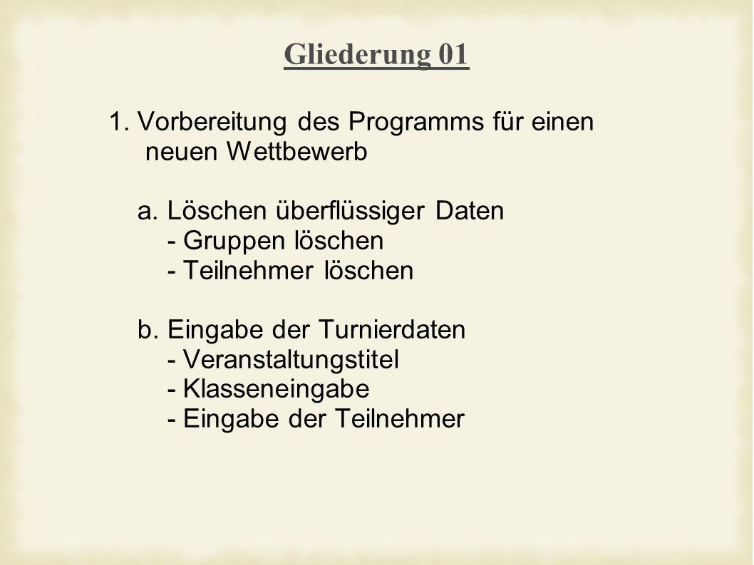 Gliederung 01 1. Vorbereitung des Programms für einen neuen Wettbewerb a.