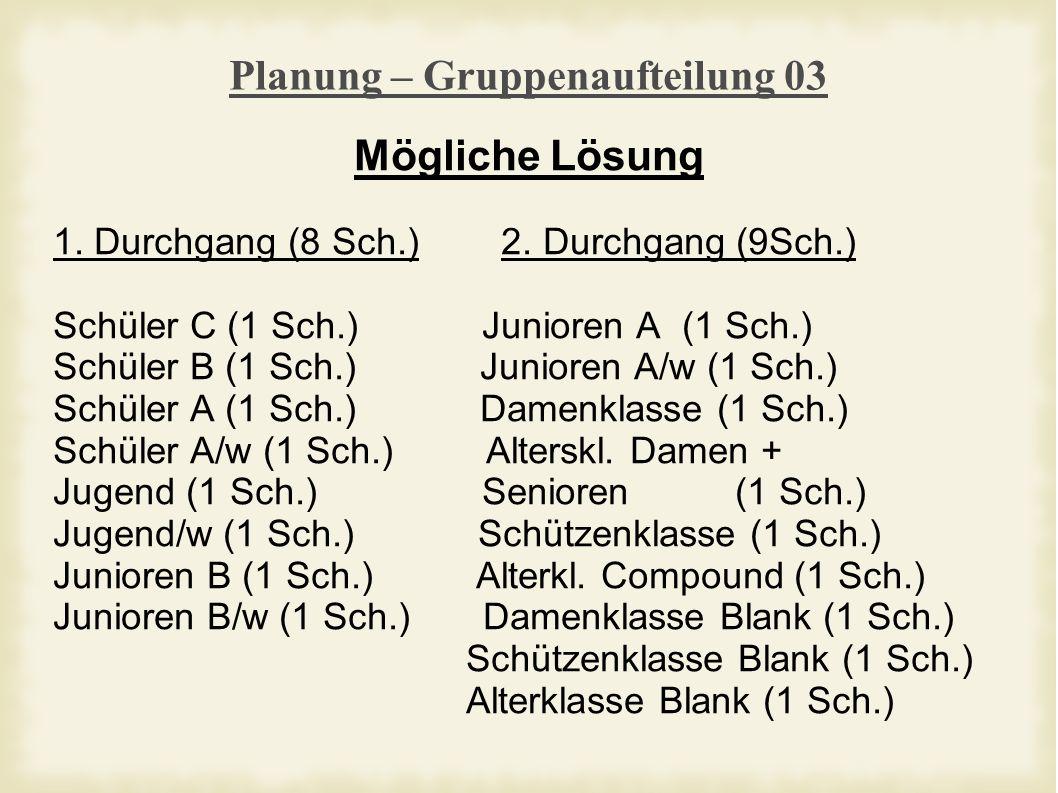 Planung – Gruppenaufteilung 03 Mögliche Lösung 1. Durchgang (8 Sch.) 2.