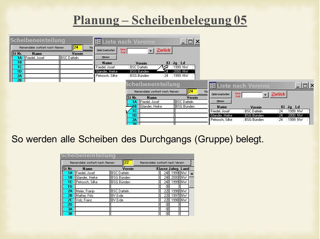 Planung – Scheibenbelegung 05 So werden alle Scheiben des Durchgangs (Gruppe) belegt.