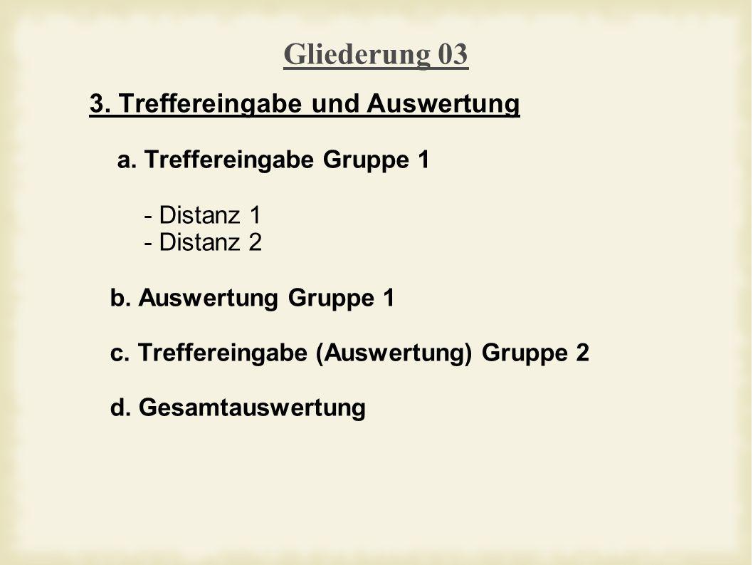 Gliederung 03 3. Treffereingabe und Auswertung a.