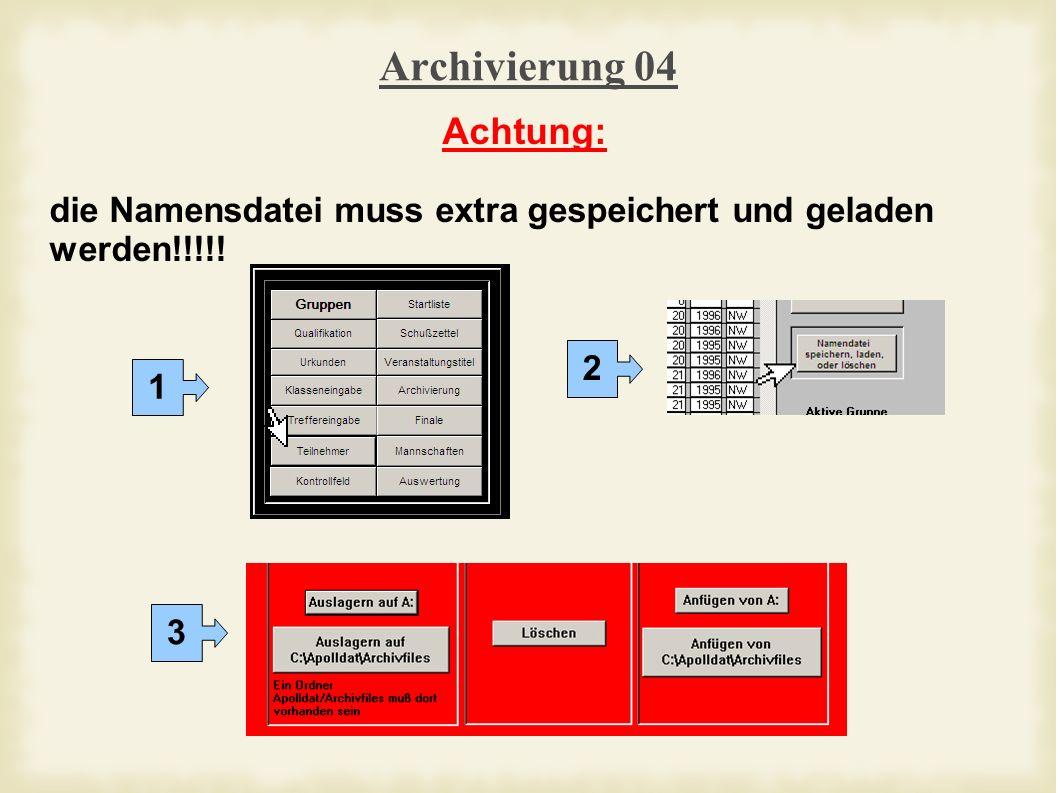 Archivierung 04 Achtung: die Namensdatei muss extra gespeichert und geladen werden!!!!! 1 2 3