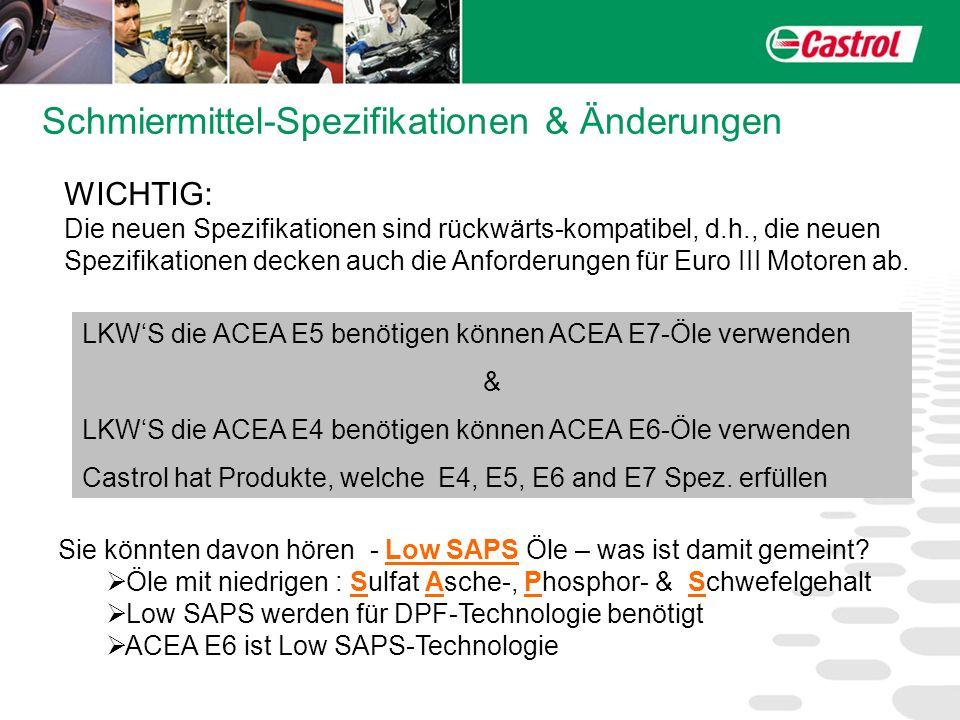 Schmiermittel-Spezifikationen & Änderungen WICHTIG: Die neuen Spezifikationen sind rückwärts-kompatibel, d.h., die neuen Spezifikationen decken auch d