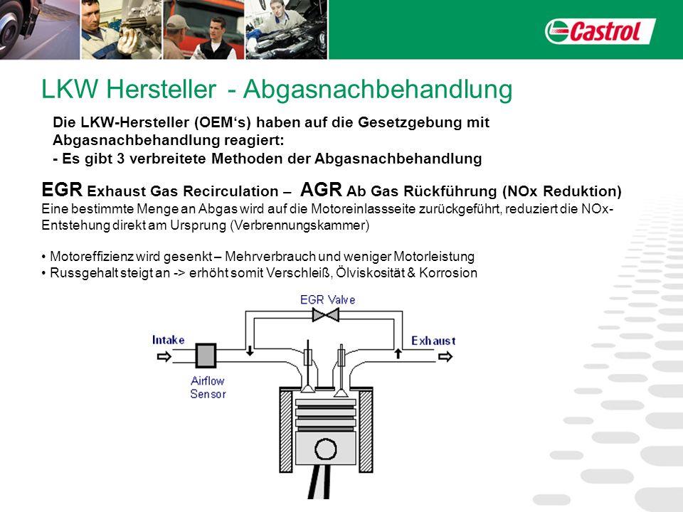 LKW Hersteller - Abgasnachbehandlung SCR Selective Catalyst Reduction – (NOx Reduktion) NOx wird über einen speziellen Katalysator zu Stickstoff und Wasser reduziert, dafür wird eine spezielle Harnstoff-Lösung verwendet (diese wässrige Lösung ist auch unter dem Handelsnamen AdBlue bekannt).