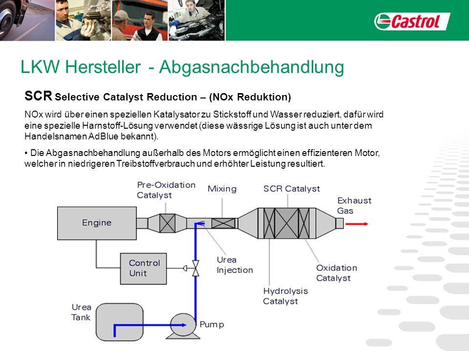 LKW Hersteller - Abgasnachbehandlung SCR Selective Catalyst Reduction – (NOx Reduktion) NOx wird über einen speziellen Katalysator zu Stickstoff und W