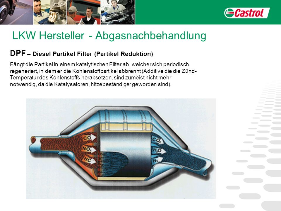 LKW Hersteller - Abgasnachbehandlung DPF – Diesel Partikel Filter (Partikel Reduktion) Fängt die Partikel in einem katalytischen Filter ab, welcher si
