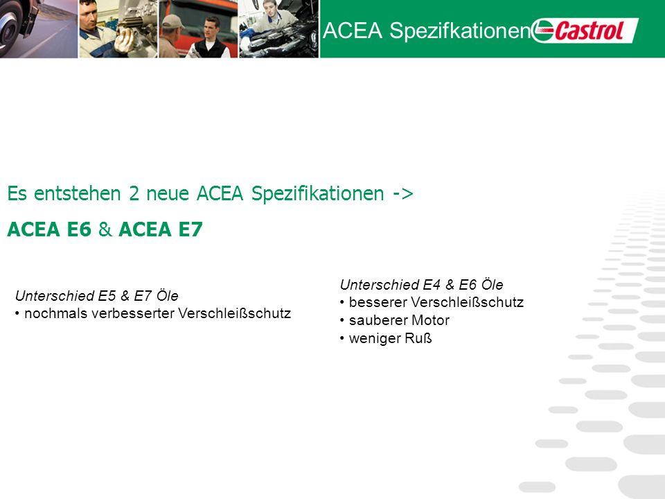 ACEA Spezifkationen Unterschied E5 & E7 Öle nochmals verbesserter Verschleißschutz Unterschied E4 & E6 Öle besserer Verschleißschutz sauberer Motor we
