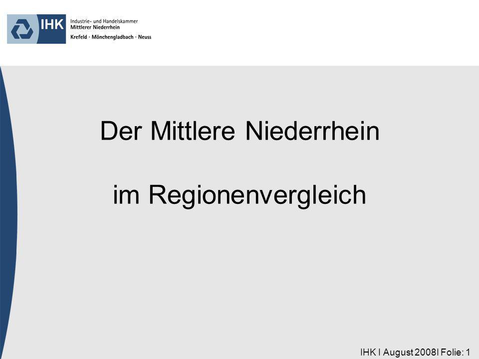 IHK I August 2008I Folie: 12 Region Aachen Deutschland (9,9) Region Heilbronn/ Franken Region Ulm Region Karlsruhe Region Braun- schweig Region Mittlerer Niederrhein Jugendarbeitslosigkeit – Anteil der Arbeitslosen < 25 Jahre an allen Arbeitslosen April 2008