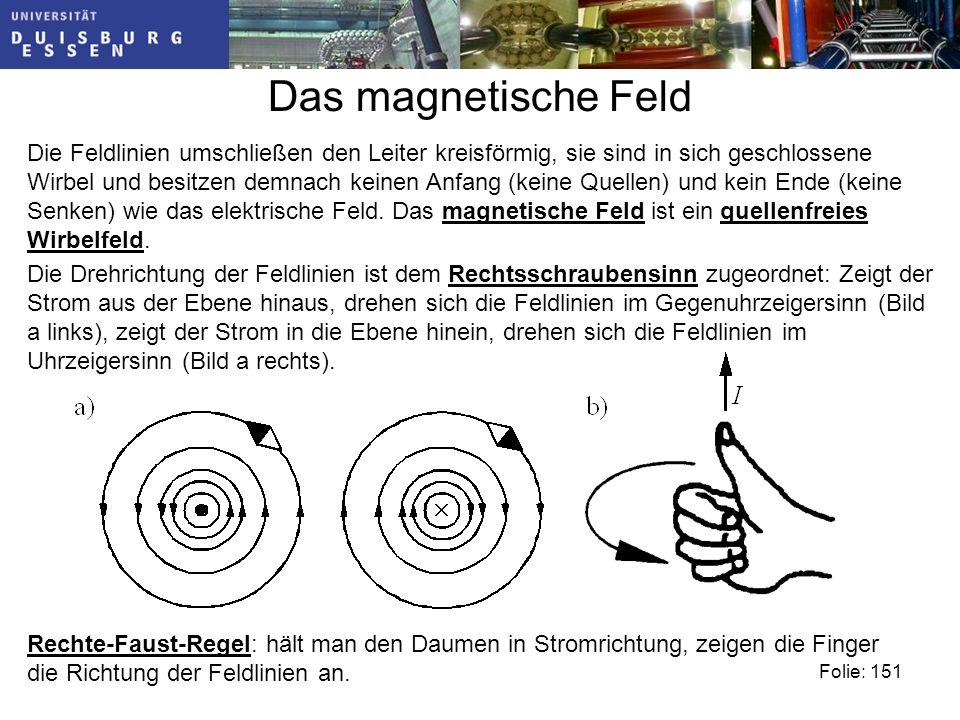 Das magnetische Feld Die Feldlinien umschließen den Leiter kreisförmig, sie sind in sich geschlossene Wirbel und besitzen demnach keinen Anfang (keine Quellen) und kein Ende (keine Senken) wie das elektrische Feld.