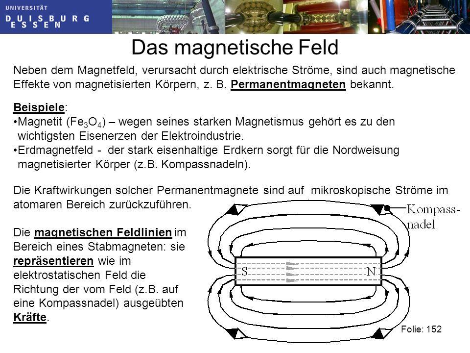 Das magnetische Feld Neben dem Magnetfeld, verursacht durch elektrische Ströme, sind auch magnetische Effekte von magnetisierten Körpern, z.