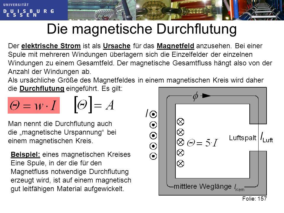 Die magnetische Durchflutung Der elektrische Strom ist als Ursache für das Magnetfeld anzusehen.