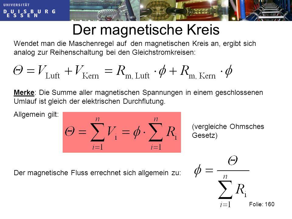 Der magnetische Kreis Wendet man die Maschenregel auf den magnetischen Kreis an, ergibt sich analog zur Reihenschaltung bei den Gleichstromkreisen: Folie: 160 Der magnetische Fluss errechnet sich allgemein zu: Merke: Die Summe aller magnetischen Spannungen in einem geschlossenen Umlauf ist gleich der elektrischen Durchflutung.