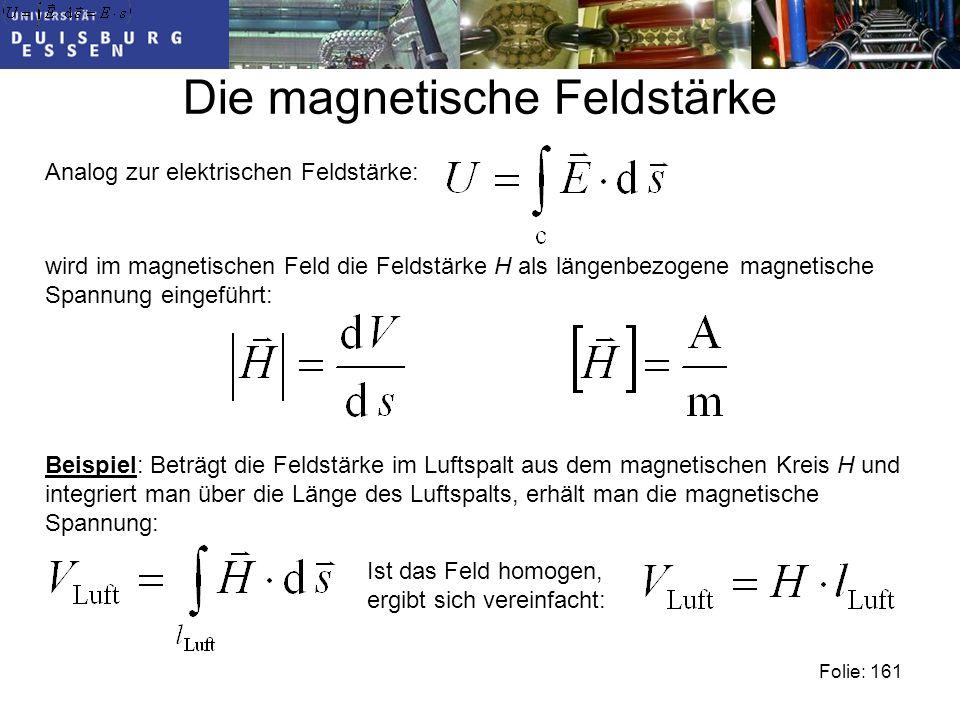 Die magnetische Feldstärke Analog zur elektrischen Feldstärke: Folie: 161 wird im magnetischen Feld die Feldstärke H als längenbezogene magnetische Spannung eingeführt: Beispiel: Beträgt die Feldstärke im Luftspalt aus dem magnetischen Kreis H und integriert man über die Länge des Luftspalts, erhält man die magnetische Spannung: Ist das Feld homogen, ergibt sich vereinfacht: