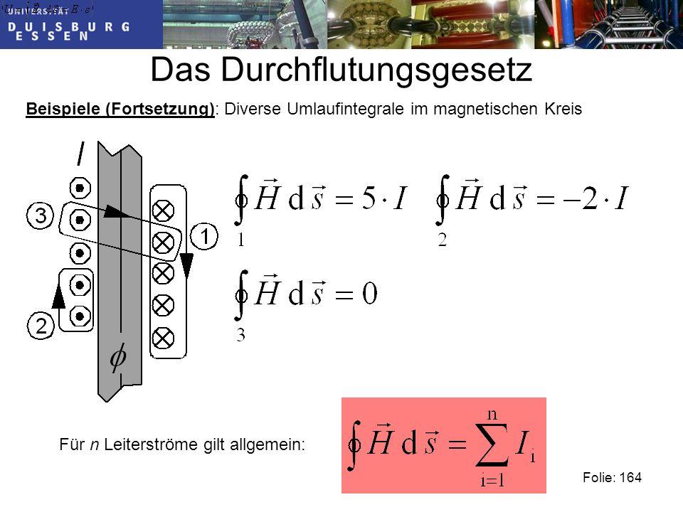Das Durchflutungsgesetz Folie: 164 Beispiele (Fortsetzung): Diverse Umlaufintegrale im magnetischen Kreis Für n Leiterströme gilt allgemein: