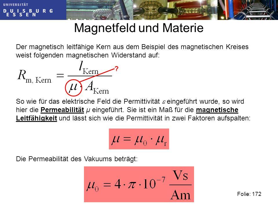 Magnetfeld und Materie Der magnetisch leitfähige Kern aus dem Beispiel des magnetischen Kreises weist folgenden magnetischen Widerstand auf: So wie für das elektrische Feld die Permittivität eingeführt wurde, so wird hier die Permeabilität µ eingeführt.