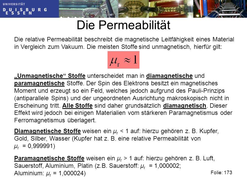 Die Permeabilität Folie: 173 Die relative Permeabilität beschreibt die magnetische Leitfähigkeit eines Material in Vergleich zum Vakuum.