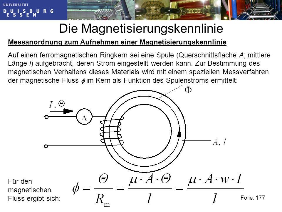 Die Magnetisierungskennlinie Messanordnung zum Aufnehmen einer Magnetisierungskennlinie Auf einen ferromagnetischen Ringkern sei eine Spule (Querschnittsfläche A; mittlere Länge l) aufgebracht, deren Strom eingestellt werden kann.