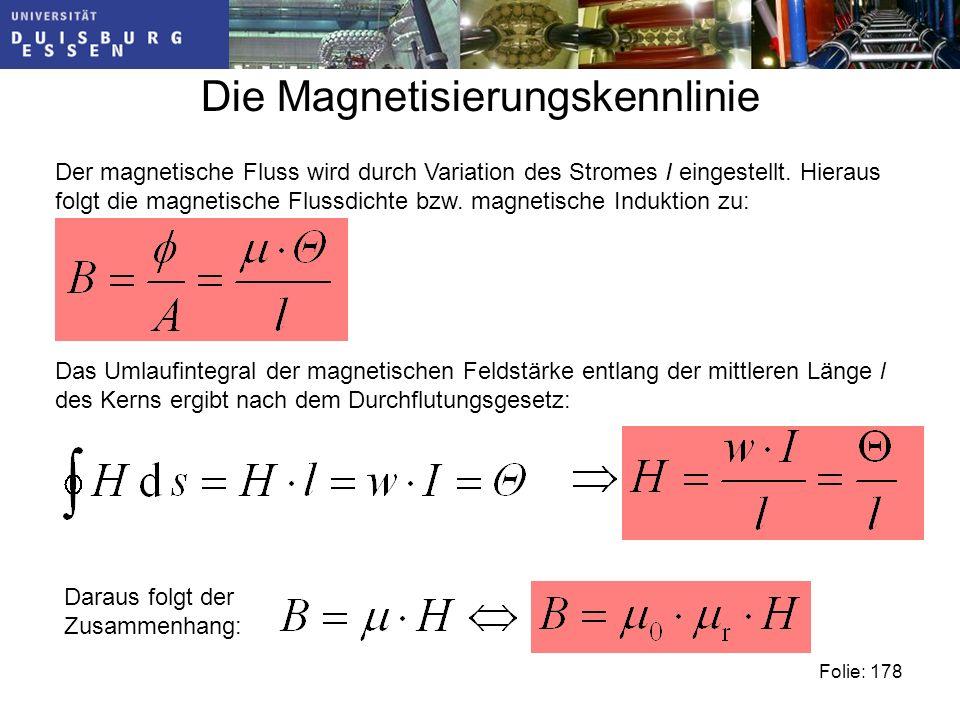 Die Magnetisierungskennlinie Der magnetische Fluss wird durch Variation des Stromes I eingestellt.