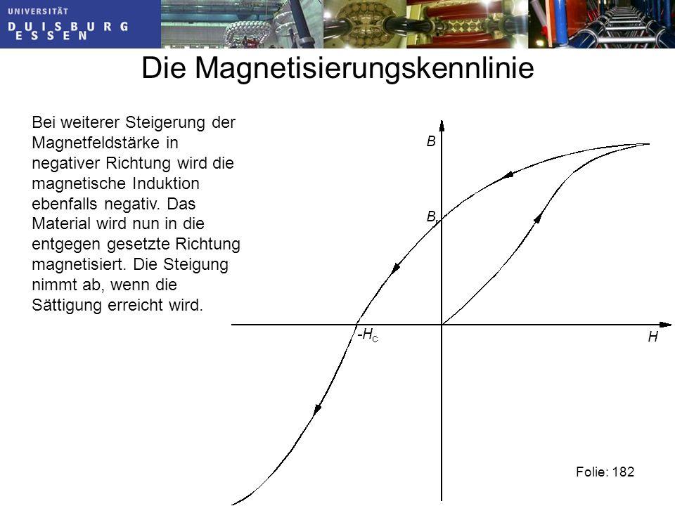 Die Magnetisierungskennlinie Bei weiterer Steigerung der Magnetfeldstärke in negativer Richtung wird die magnetische Induktion ebenfalls negativ.