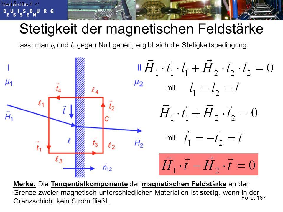 Stetigkeit der magnetischen Feldstärke Folie: 187 Lässt man l 3 und l 4 gegen Null gehen, ergibt sich die Stetigkeitsbedingung: mit Merke: Die Tangentialkomponente der magnetischen Feldstärke an der Grenze zweier magnetisch unterschiedlicher Materialien ist stetig, wenn in der Grenzschicht kein Strom fließt.
