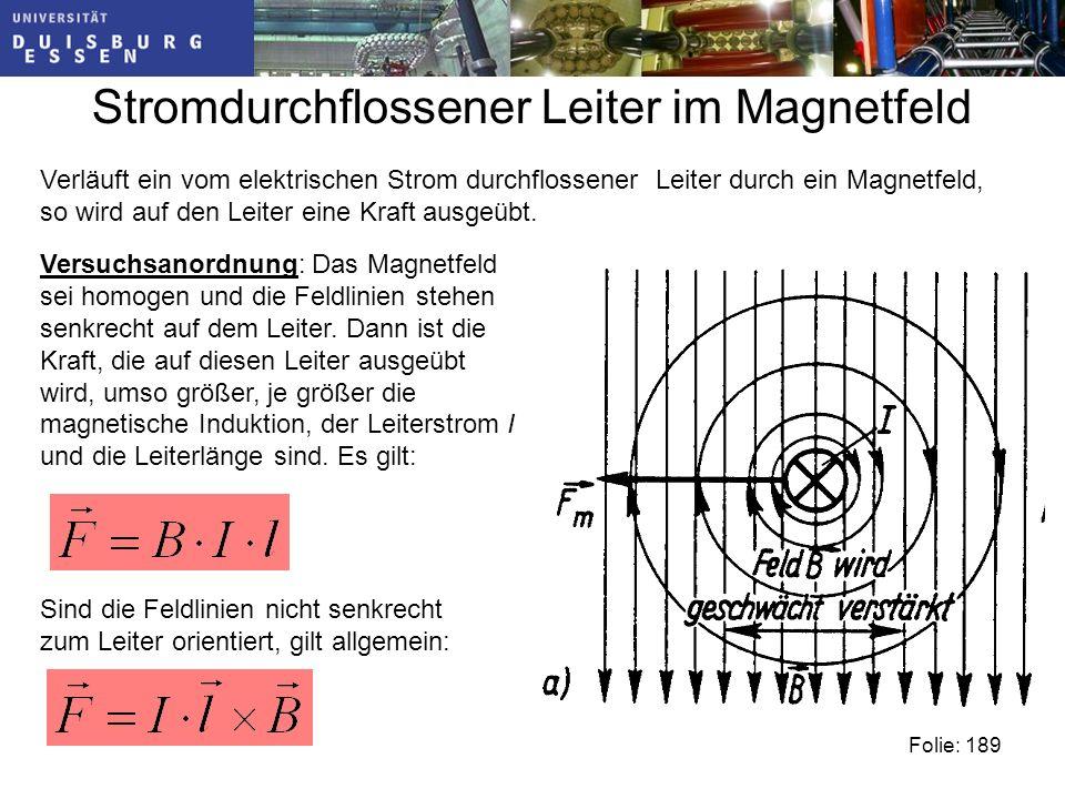 Stromdurchflossener Leiter im Magnetfeld Verläuft ein vom elektrischen Strom durchflossener Leiter durch ein Magnetfeld, so wird auf den Leiter eine Kraft ausgeübt.