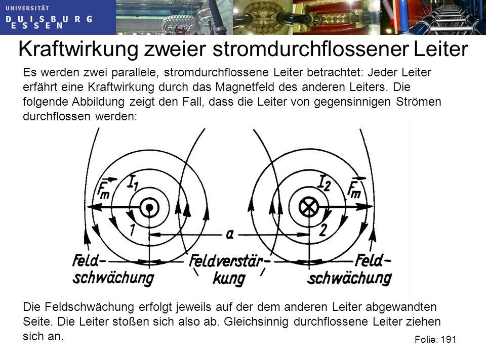 Kraftwirkung zweier stromdurchflossener Leiter Folie: 191 Die Feldschwächung erfolgt jeweils auf der dem anderen Leiter abgewandten Seite.