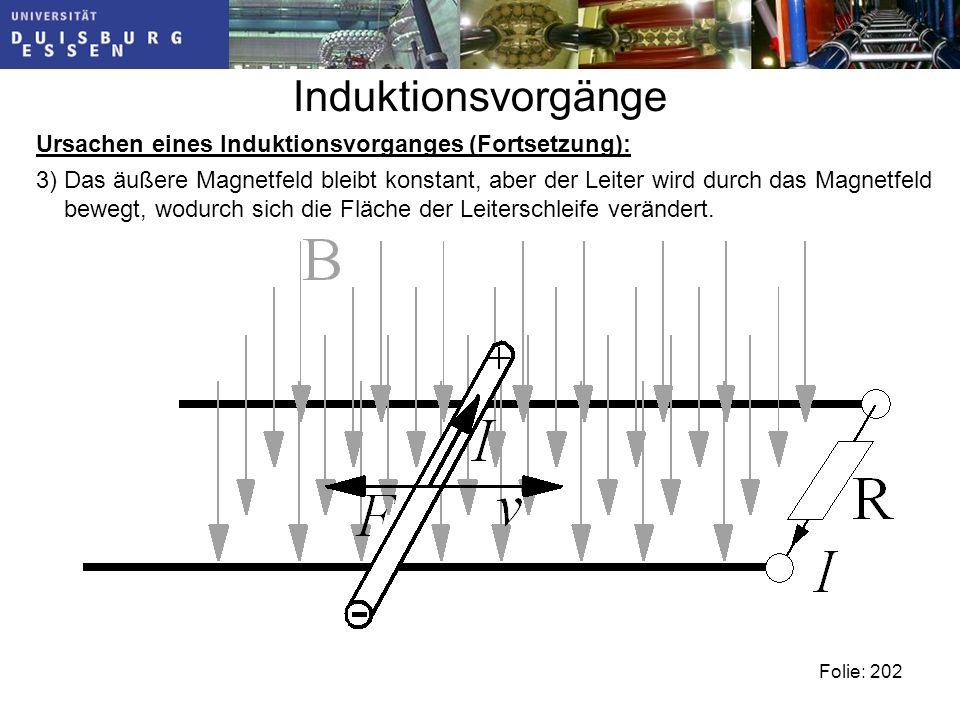 Induktionsvorgänge Ursachen eines Induktionsvorganges (Fortsetzung): 3) Das äußere Magnetfeld bleibt konstant, aber der Leiter wird durch das Magnetfeld bewegt, wodurch sich die Fläche der Leiterschleife verändert.