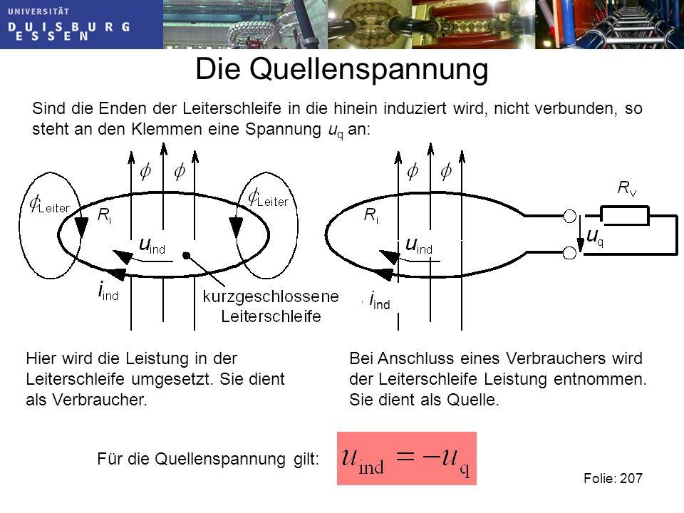 Die Quellenspannung Sind die Enden der Leiterschleife in die hinein induziert wird, nicht verbunden, so steht an den Klemmen eine Spannung u q an: Hier wird die Leistung in der Leiterschleife umgesetzt.