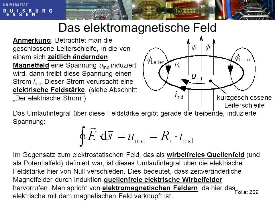 Im Gegensatz zum elektrostatischen Feld, das als wirbelfreies Quellenfeld (und als Potentialfeld) definiert war, ist dieses Umlaufintegral über die elektrische Feldstärke hier von Null verschieden.