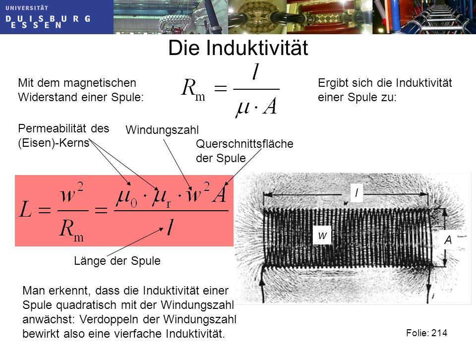 Die Induktivität Folie: 214 Mit dem magnetischen Widerstand einer Spule: Ergibt sich die Induktivität einer Spule zu: A l w Man erkennt, dass die Induktivität einer Spule quadratisch mit der Windungszahl anwächst: Verdoppeln der Windungszahl bewirkt also eine vierfache Induktivität.