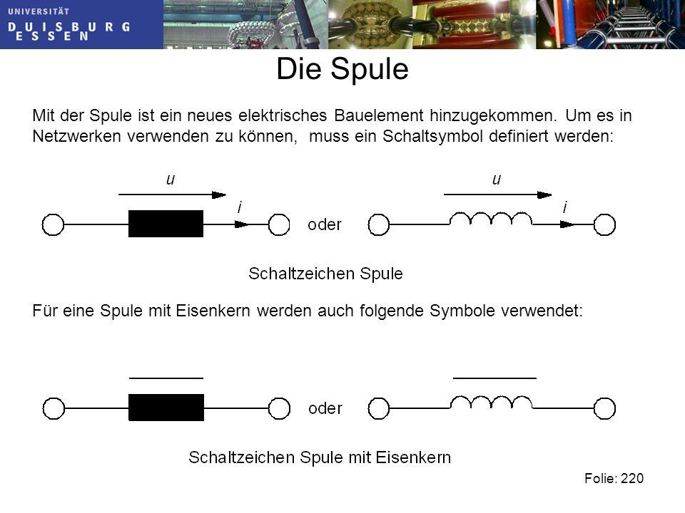 Die Spule Mit der Spule ist ein neues elektrisches Bauelement hinzugekommen.