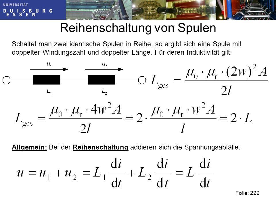 Reihenschaltung von Spulen Folie: 222 Schaltet man zwei identische Spulen in Reihe, so ergibt sich eine Spule mit doppelter Windungszahl und doppelter Länge.
