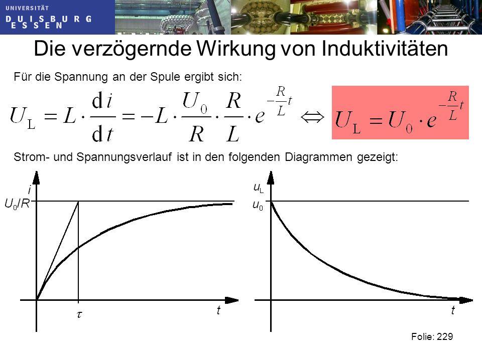 Die verzögernde Wirkung von Induktivitäten Folie: 229 Für die Spannung an der Spule ergibt sich: Strom- und Spannungsverlauf ist in den folgenden Diagrammen gezeigt: