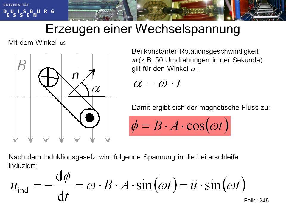 Erzeugen einer Wechselspannung Mit dem Winkel : Folie: 245 Bei konstanter Rotationsgeschwindigkeit (z.B.
