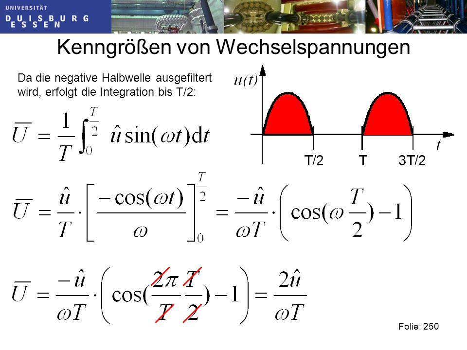 Kenngrößen von Wechselspannungen Folie: 250 Da die negative Halbwelle ausgefiltert wird, erfolgt die Integration bis T/2: