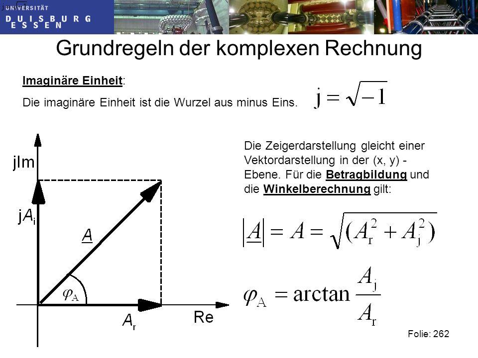 Grundregeln der komplexen Rechnung Folie: 262 Imaginäre Einheit: Die imaginäre Einheit ist die Wurzel aus minus Eins.