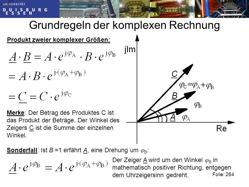 Grundregeln der komplexen Rechnung Folie: 264 Produkt zweier komplexer Größen: Merke: Der Betrag des Produktes C ist das Produkt der Beträge.