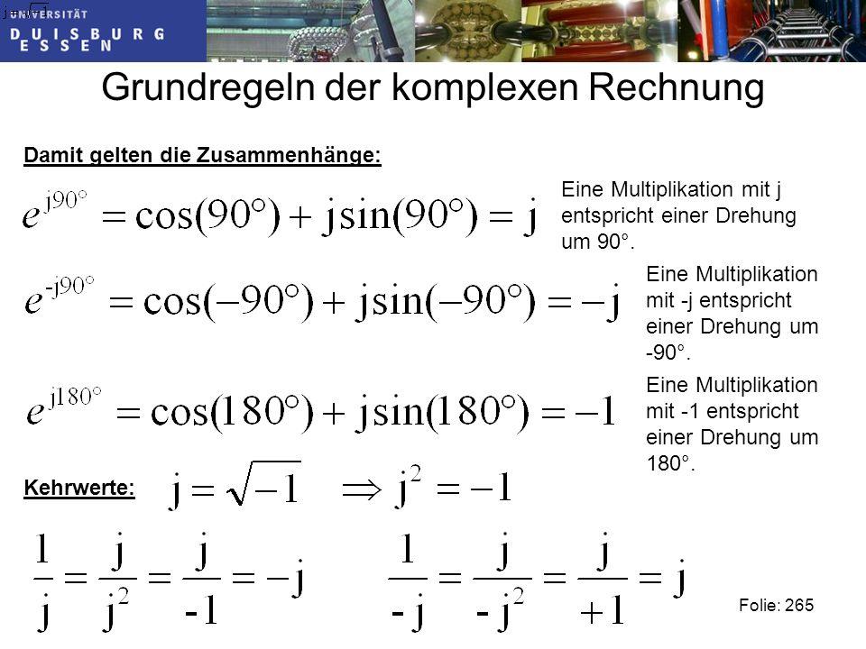 Grundregeln der komplexen Rechnung Folie: 265 Damit gelten die Zusammenhänge: Eine Multiplikation mit j entspricht einer Drehung um 90°.